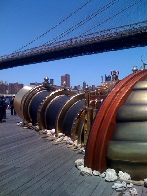 Giant steampunk video phone in Brooklyn
